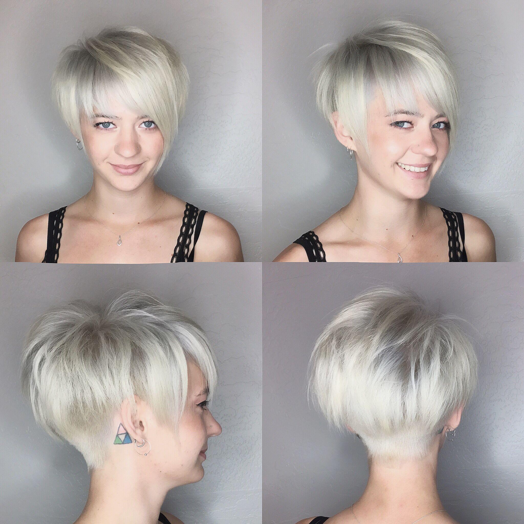 Pixie haircut platinum blonde by leahfittsbeautydesign short