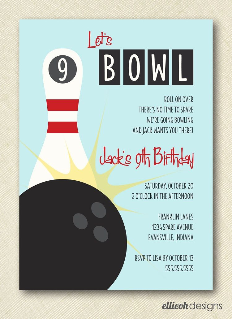 Bowling Party Invitations Wording With