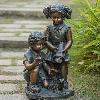 Reva Reading Boy and Girl Solar Statue
