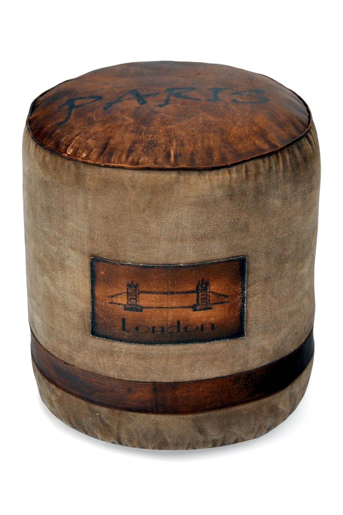 Exceptional Jetsetter Tan U0026 Brown Pouf In Recycled Canvas And Distressed Leather With  Vintage Inspired Lettering.