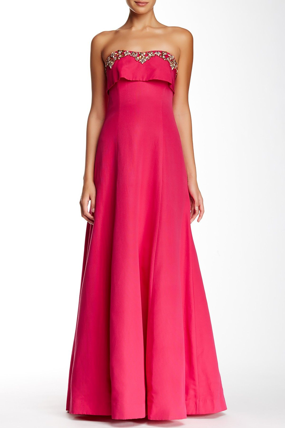 Marchesa Notte | Beaded Bodice Strapless Gown | Strapless gown ...