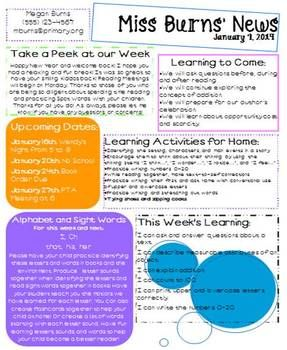 Editable Weekly Newsletter Template  Pto Ideas