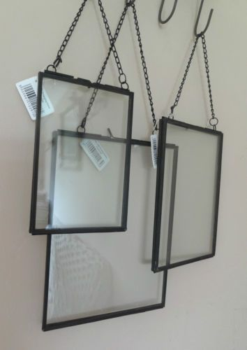 Black Metal Glass Hanging Floating Picture Photo Frame 6x4 7x5