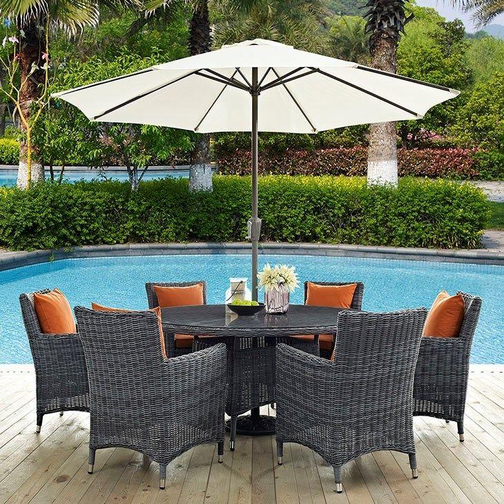 summon 8 piece outdoor patio sunbrella dining set in canvas tuscan - Sunbrella Patio Furniture