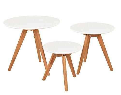 3er Set Design Beistelltische Rund Eiche Weiß Kaffeetisch - wohnzimmertisch wei rund