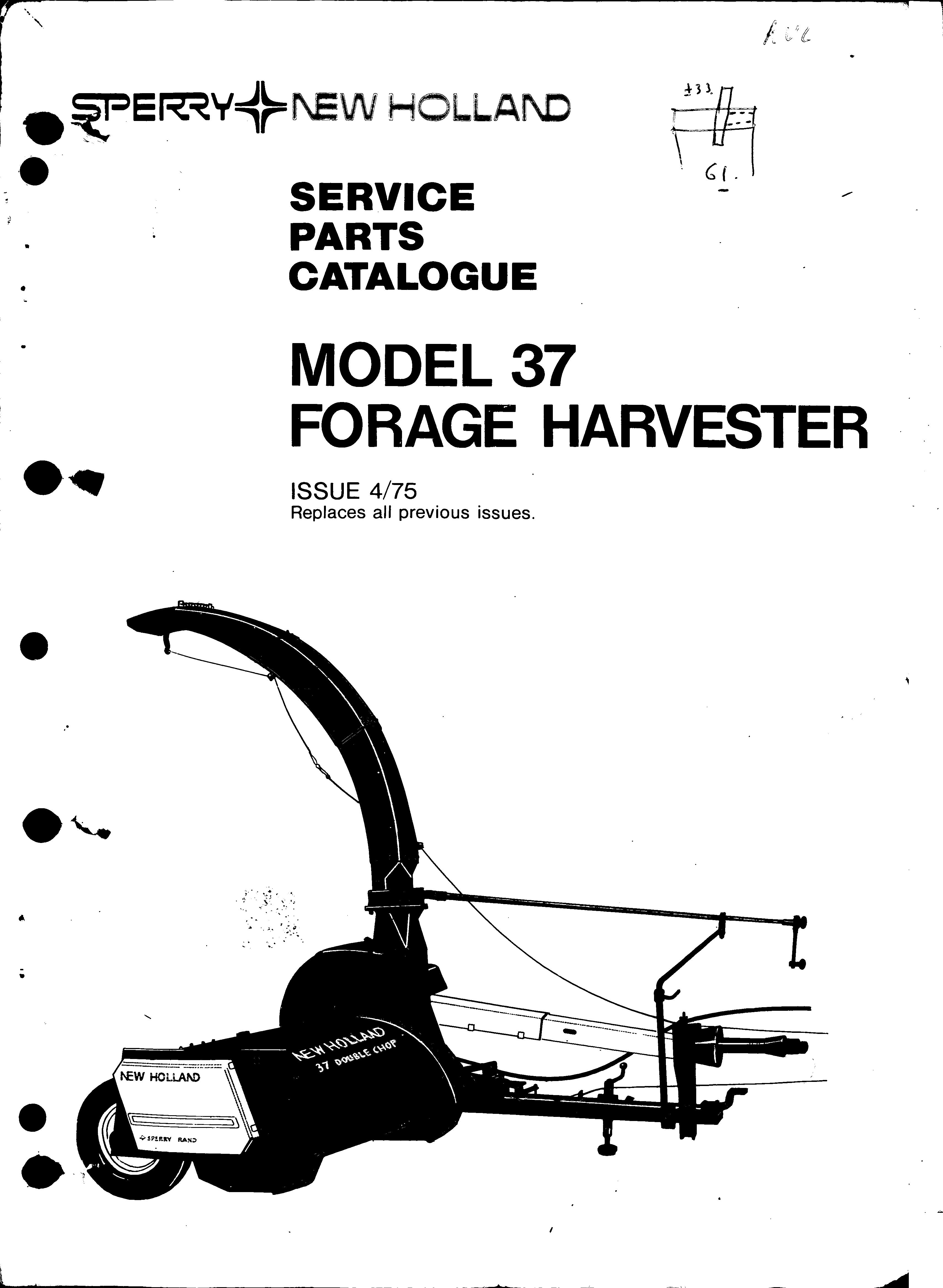 New Holland 37 Parts Manual for Forage Harvester download