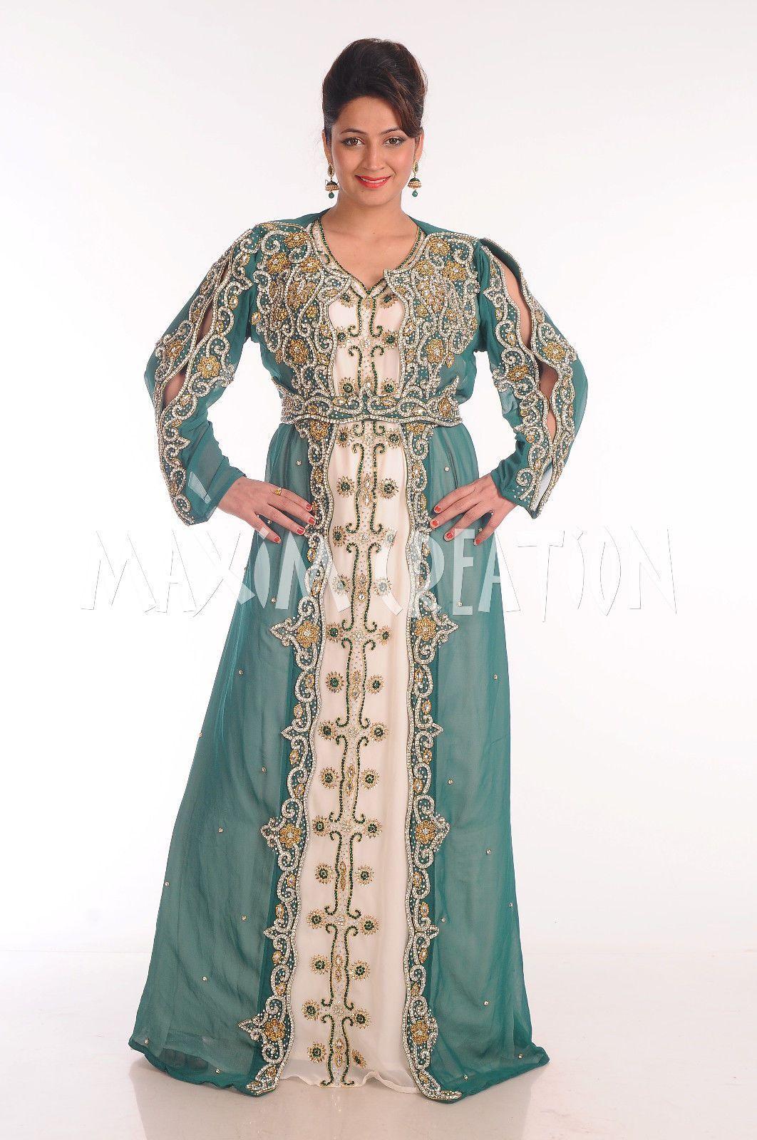 e19904c568 Bridal Moroccan Caftan Wedding Gown Party Wear Thobe Jalabiya Jilbab Dress  4871