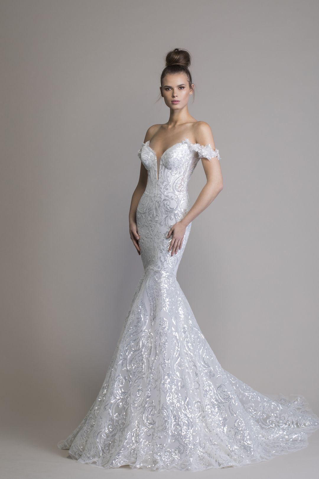 Off The Shoulder Sequin Mermaid Wedding Dress Kleinfeld Bridal In 2020 Pnina Tornai Wedding Dress Mermaid Wedding Dress Wedding Dresses