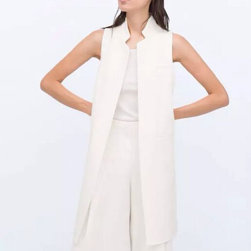 Women white black long vest coat Europen style waistcoat ...