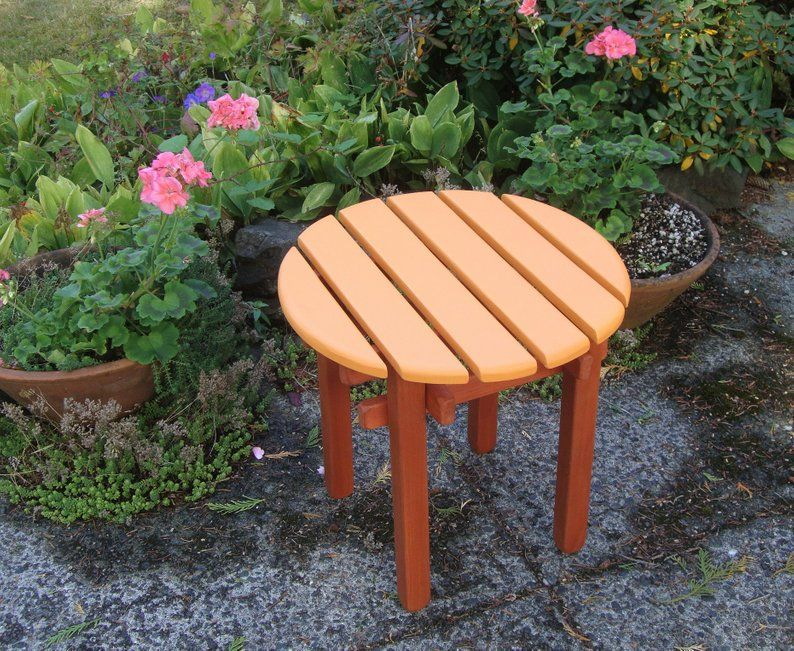 Two Color Outdoor Round Top Side Tables Garden Deck Patio Etsy