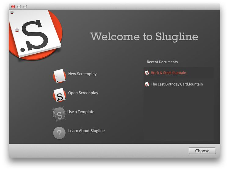 Slugline Is A Simple Elegant Screenwriting For Mac That Uses The Fountain Plain Text Screenplay Format