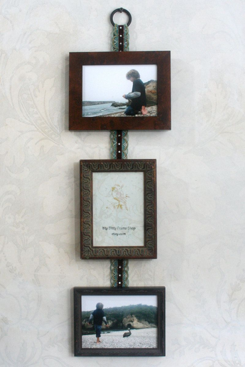 Burl and distressed wood multi photo frame wall hanging by photo frame collage hold photos vintage styled burl and distressed wood hung from a shabby chic ribbon beautiful wedding gift jeuxipadfo Images