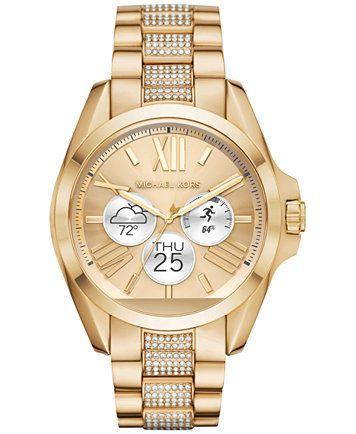Michael Kors Access Unisex Digital Bradshaw Pavé Detail Gold-Tone Stainless  Steel Bracelet Smart Watch 45mm MKT5002   macys.com e17e79ac0f
