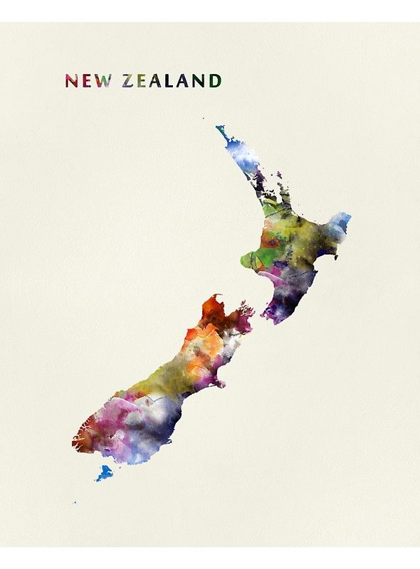 New Zealand Premium Scoop T Shirt By Monnprint Watercolor Map