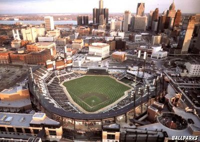 Comerica Park with part of Detroit's gorgeous skyline in the distance. :)