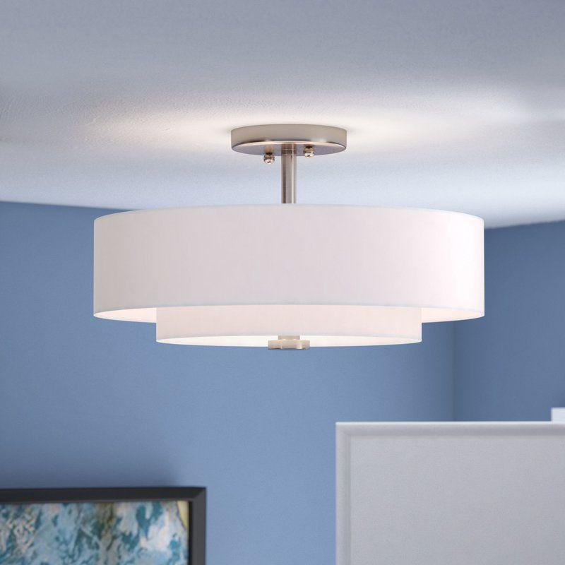 Brittnie 3 Light 15 Shaded Tiered Semi Flush Mount Bedroom Ceiling Light Bedroom Lighting Living Room Lighting