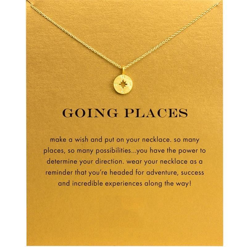 Going places gold compass pendant choker necklace