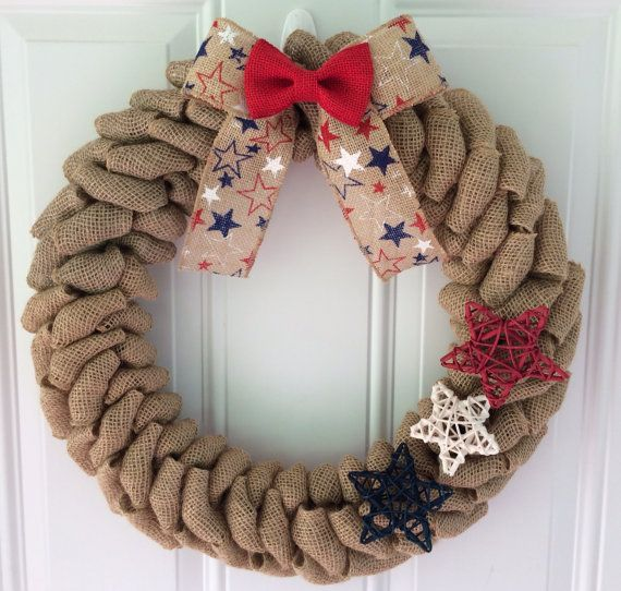 Patriotic burlap wreath - American wreath - Stars and Stripes - 4th of July wreath - Star wreath - 4th of July decor - Americana