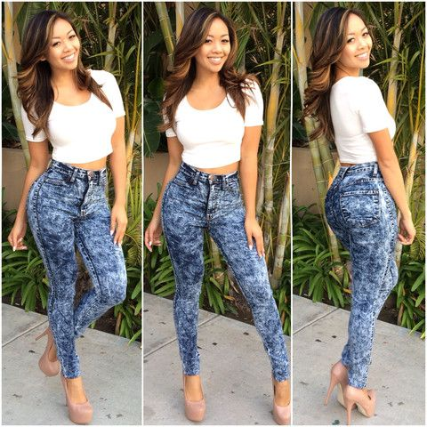 High Waist Acid Wash Skinny Denim Jean Pants (Dark Wash) - $39.99 ...