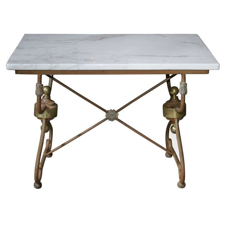 French Marble Top Butcher Pastry Table
