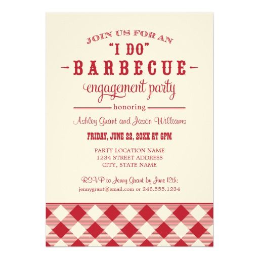 Red Wedding Engagement Party I Do BBQ Card - how to word engagement party invitations