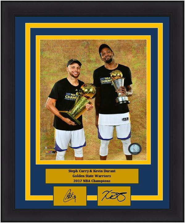 3f622845 Golden State Warriors 2017 NBA Champions Steph Curry & Kevin Durant  Championship and MVP Trophies