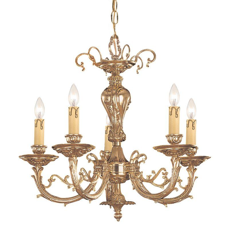 """View the Crystorama Lighting Group 485 Etta 5 Light 20"""" Wide Cast Brass Candle Style Chandelier at LightingDirect.com."""
