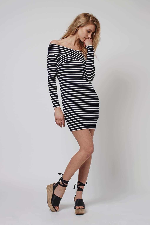 TALL Stripe Bardot Dress - Topshop
