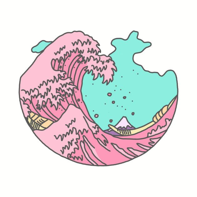 Japanese Pastel Kawaii Anime Meme Surf Beach Wave Aesthetic