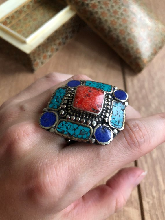 One Size Ring Bohemian Ring Nepalese Tibetan Ring Boho Style Ethnic Jewellery Ethnic Turquoise Ring Gift for Her