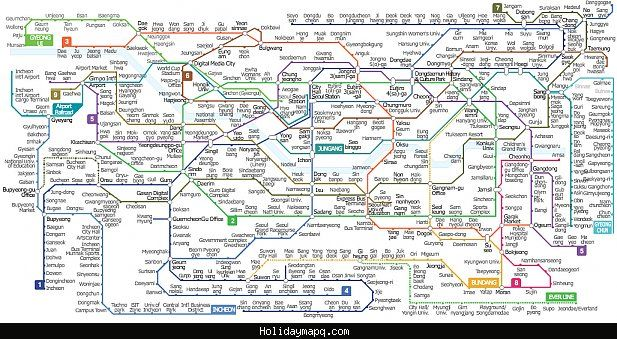 Awesome South Korea Subway Map Holidaymapq Seoul Map Subway Map
