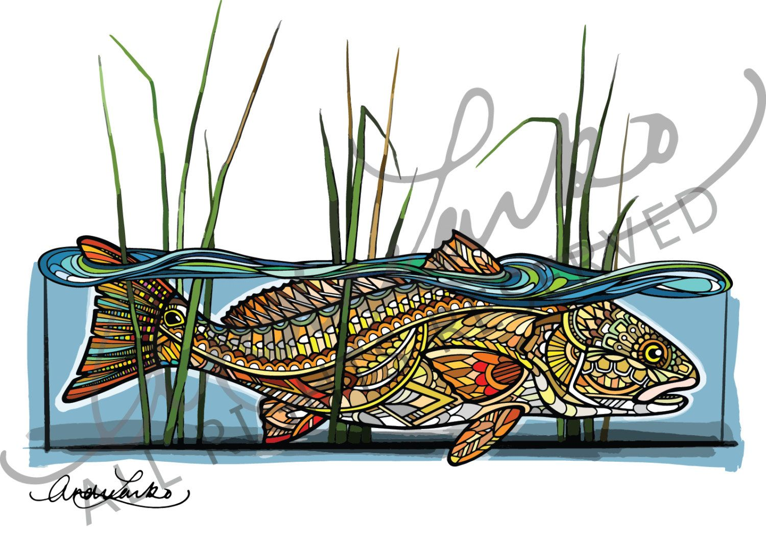 "Zentangle Redfish in the Reeds Fish Art Print 8.5""x11"" by andrealarko on Etsy"