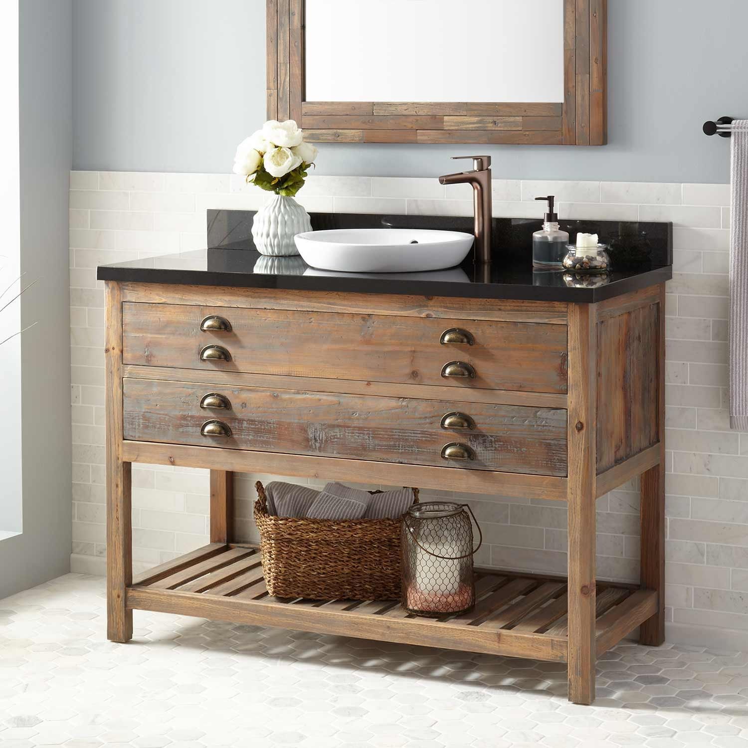48 Benoist Reclaimed Wood Console Vanity For Semi Recessed Sink