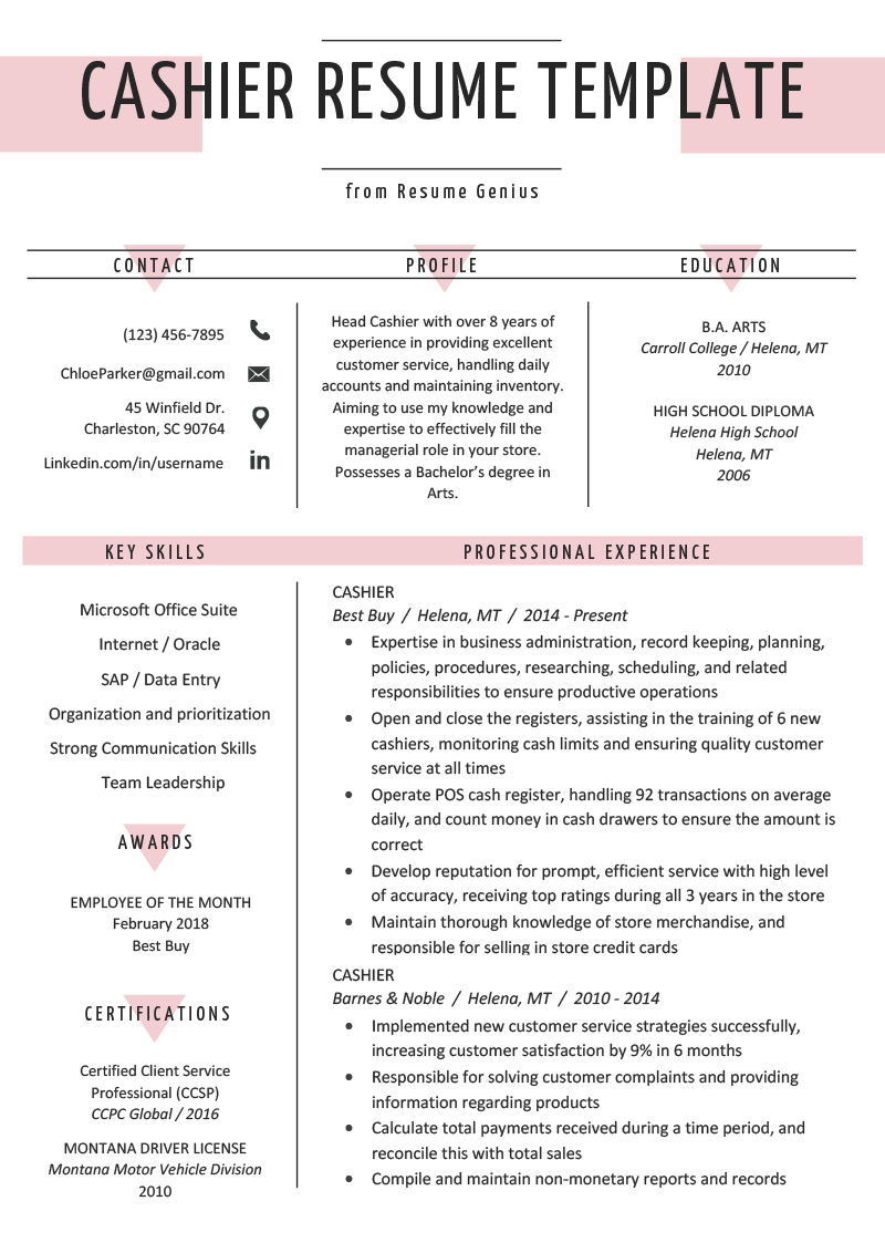 Cashier Resume Sample & Writing Guide Cashiers resume