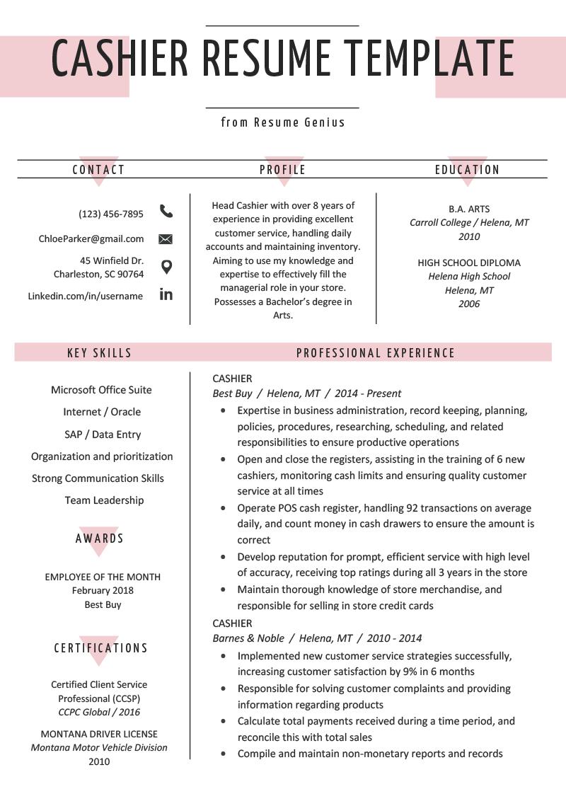 Cashier Resume Sample & Writing Guide Cashiers resume