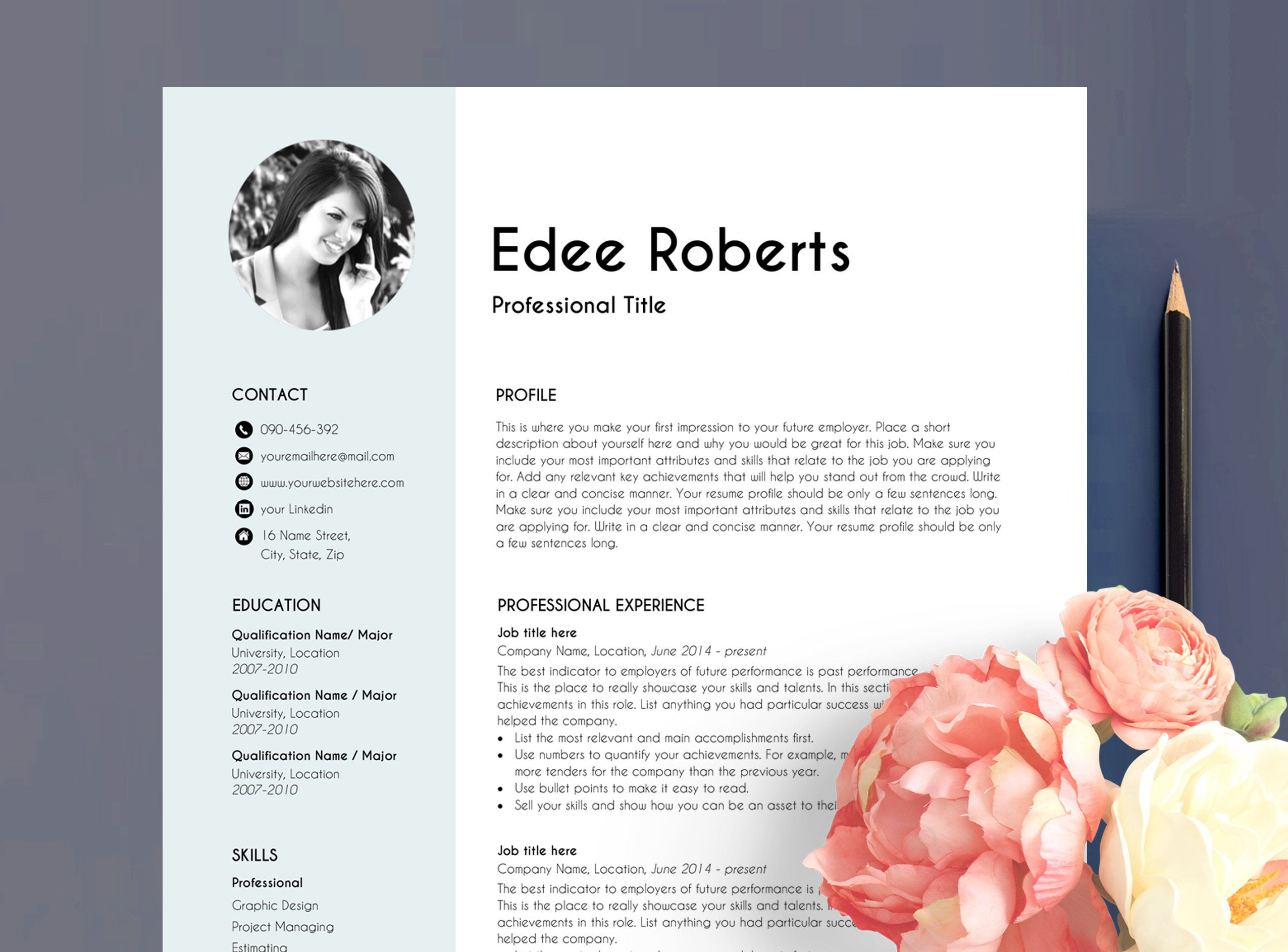 Cv template resume template with photo professional
