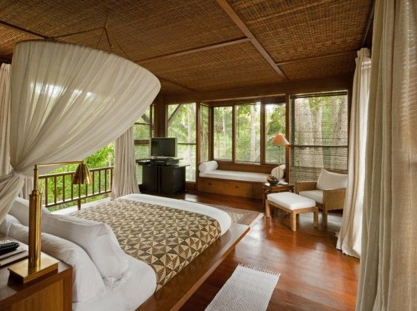 Como Shambhala Estate Bali- bamboo matting and wood organic interior ...