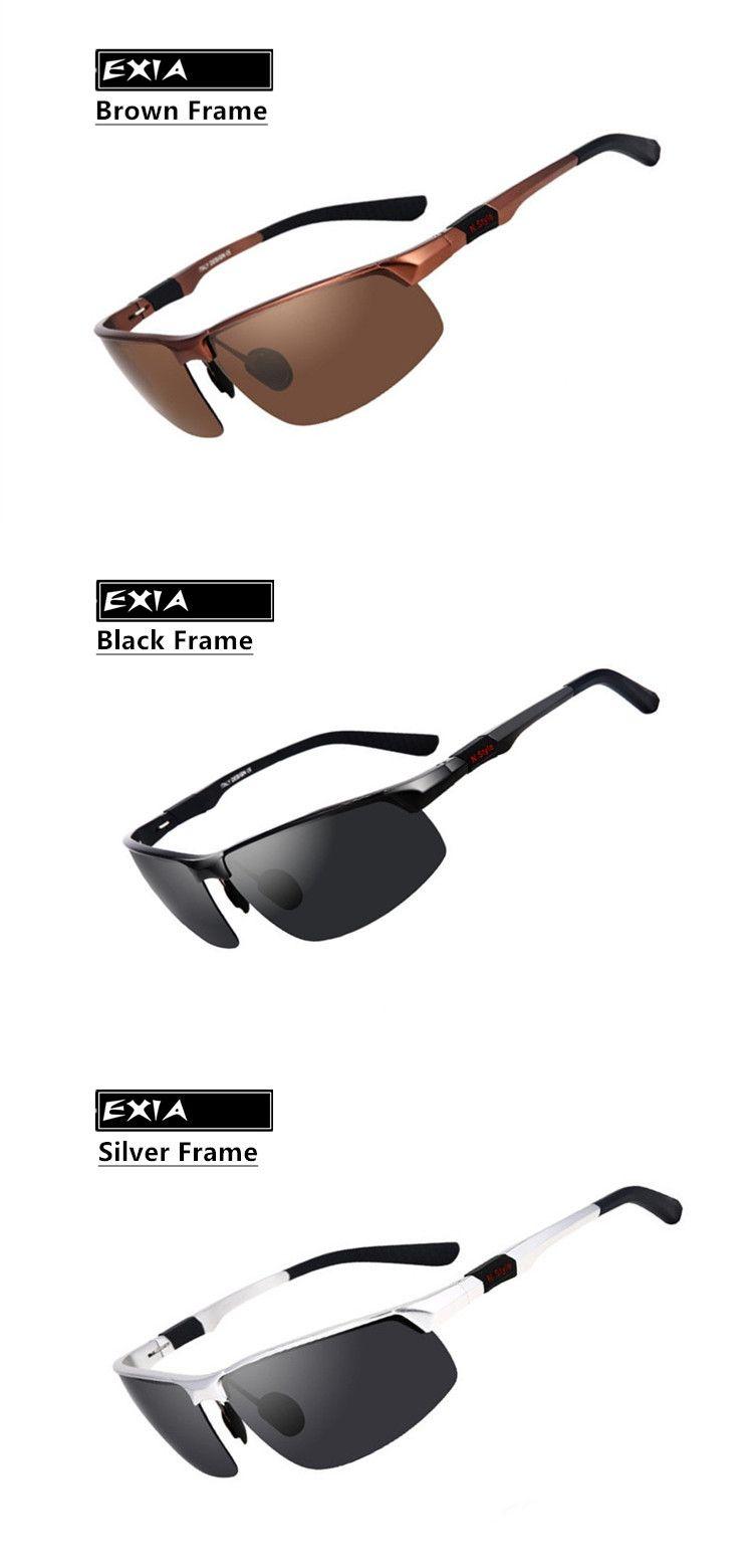 6a22977408 Silver Frame Sunglasses Men Polarized Grey TAC Lenses HD Vision EXIA  OPTICAL KD-43 Series