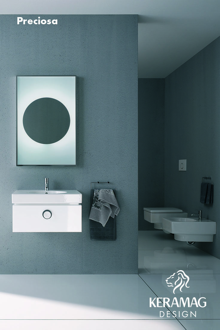 The Preciosa collection's basin, WC, bidet and furniture by Keramag Design. Find more at: http://www.keramagdesign.com/