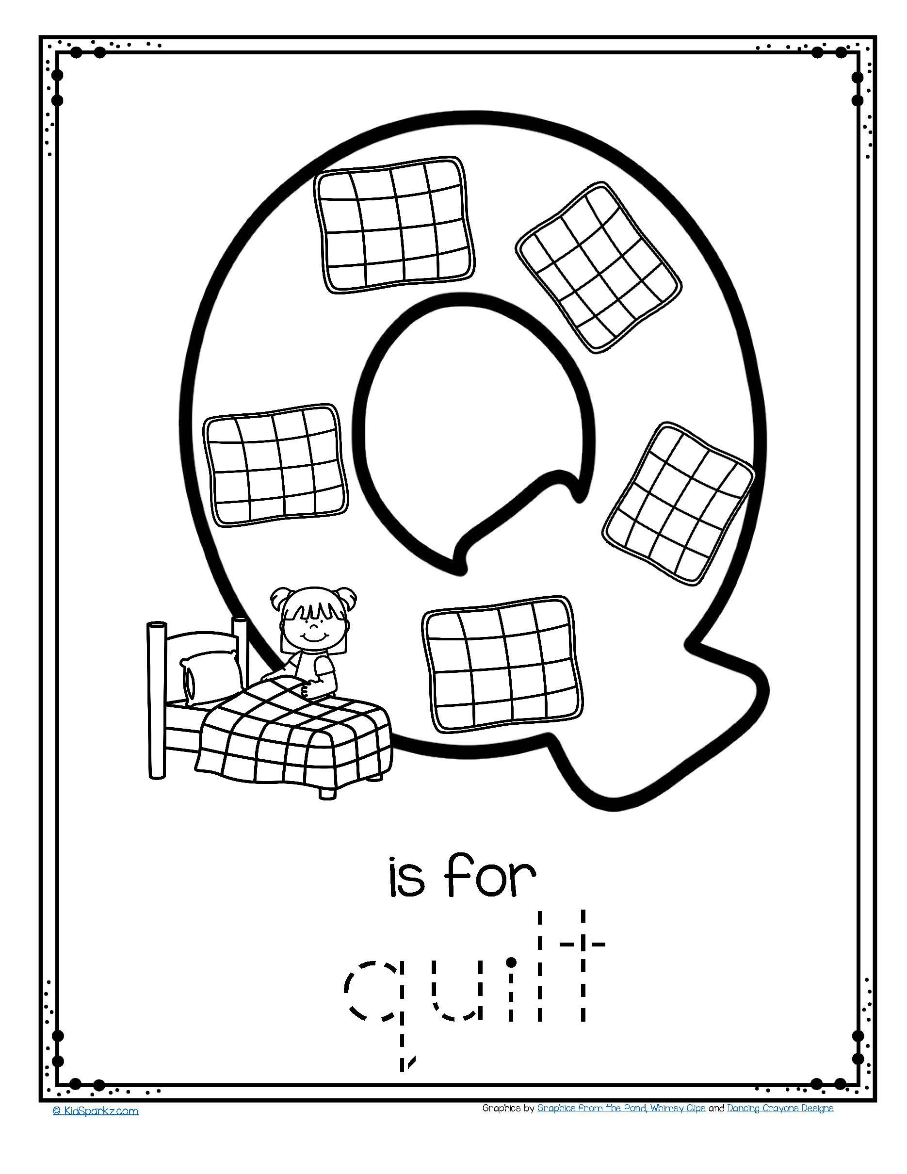 Free Q Is For Quilt Alphabet Trace And Color Printable