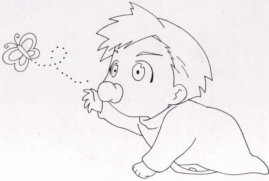 Pin By زهرة الخزامي On ابيض واسود Anime Child Drawings Baby Drawing