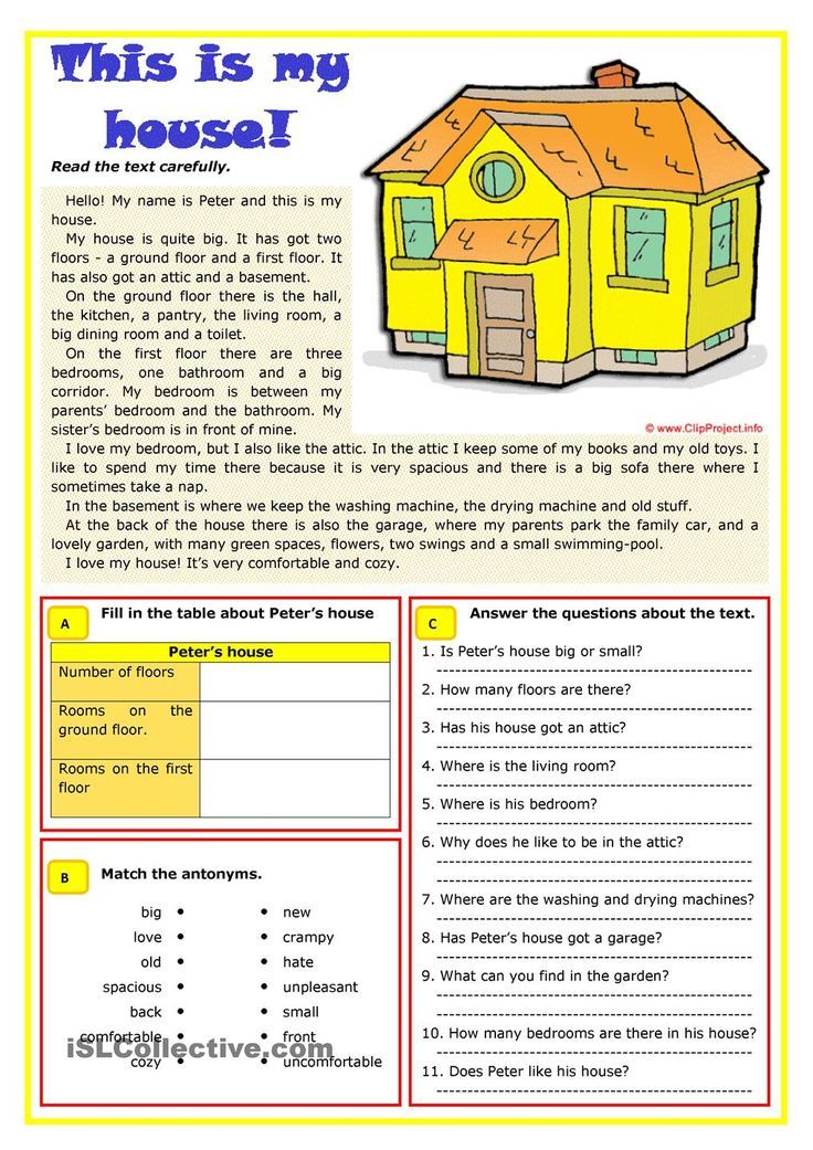 Rooms Worksheet: Student Housing Vocabulary List