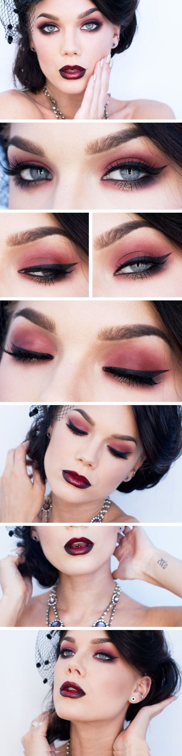 """Linda Hallberg Makeup Look """"Oldie But Goldie"""" - dramatic red eyeshadow with a pop of gold and deep red and black ombre lips. Dark and gothic and romantic. by MistyLane"""