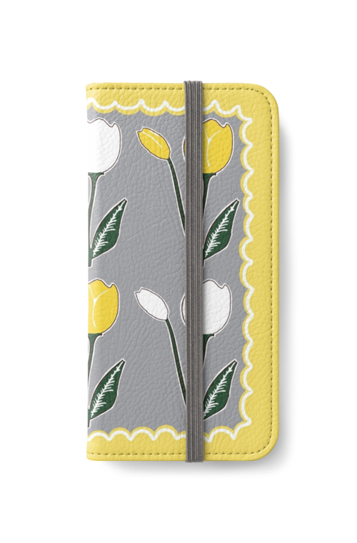 Tulips Pattern Yellow, White, and Grey iPhone wallet by Abigail Davidson at Redbubble