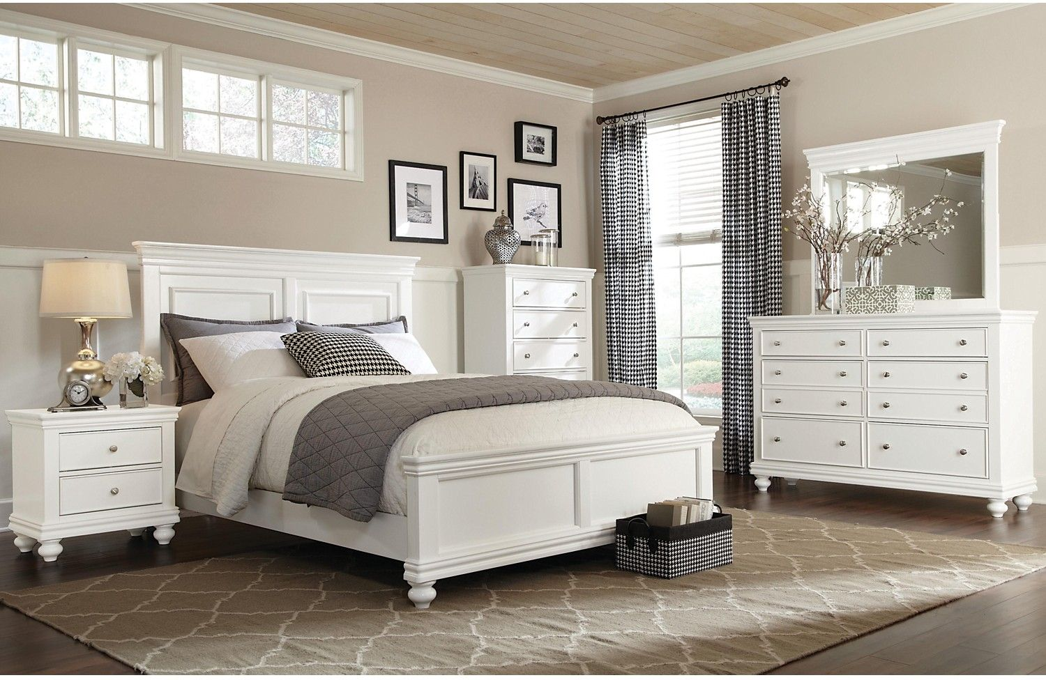 Bridgeport 6 piece queen bedroom set white queen for Bedroom furniture set