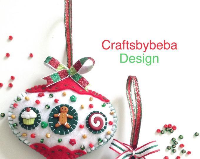Christmas Tree Ornaments / Plaid Xmas Ornaments / Set of 2 Ornaments