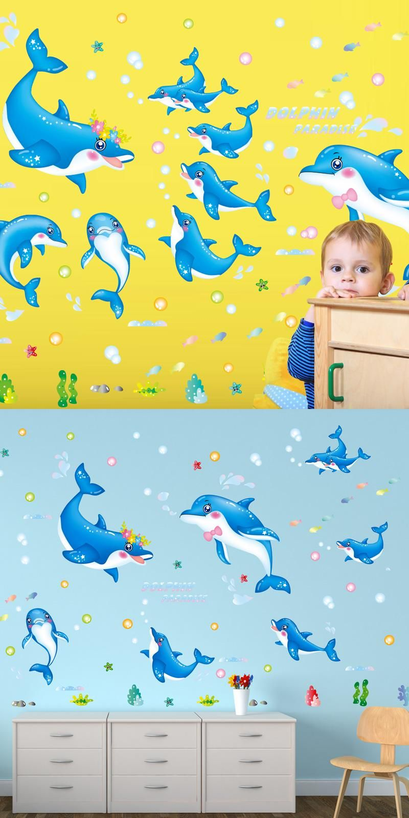Dolphin Lovers Wall Stickers Animal Cartoon Wall Decals Poster for ...