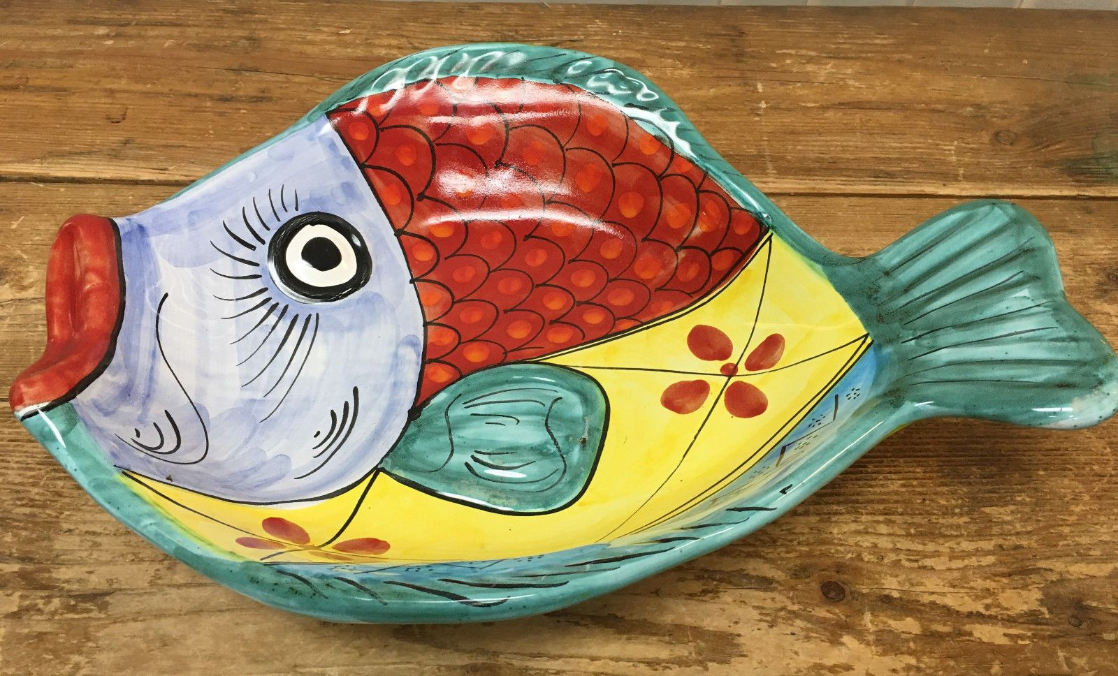 Large Vietri Italy Figural Fish Colorful Serving Dish Oval Platter ...