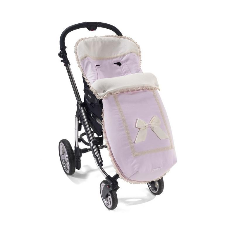 Saco Para Silla Paseo De Niña Le Petite Rosa Con Lazo Y Puntilla Beige Sillas Paseo Coches Para Bebes Sacos