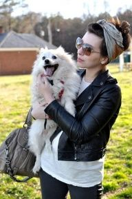 Leather jacket, little dog, big sunglasses... me in a nutshell